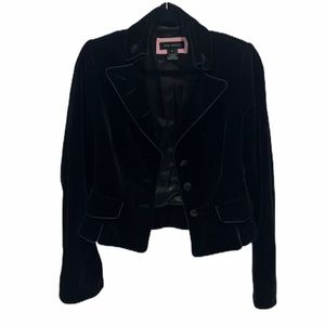 Pink Tartan   Black Velvet Tailored Blazer